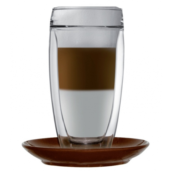 double walled latte macchiato glass sphere incl coaster. Black Bedroom Furniture Sets. Home Design Ideas