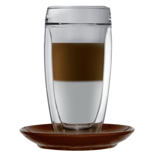 double walled latte macchiato glass sphere incl coaster. Black Bedroom Furniture Sets. Home Design Ideas